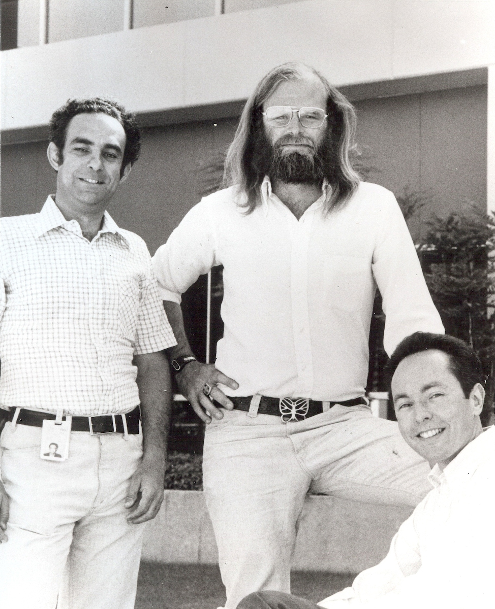 Franco Putzolu, Jim Gray, and Irv Traiger at IBM San Jose Research, circa 1977